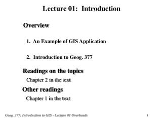 1.  An Example of GIS Application