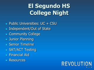 El Segundo HS College Night
