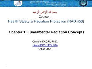 Health Safety & Radiation Protection (RAD 453)