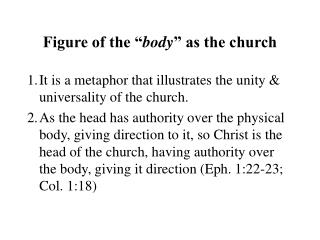 "Figure of the "" body "" as the church"