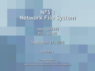NFS :  Network File System