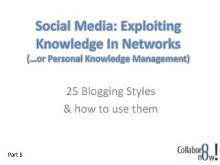 Social Media: Exploiting Knowledge In Networks (…or Personal Knowledge Management)