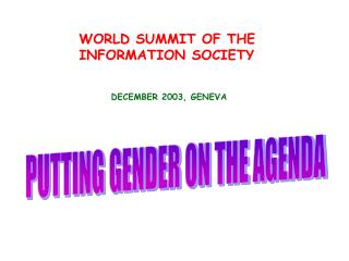 WORLD SUMMIT OF THE  INFORMATION SOCIETY