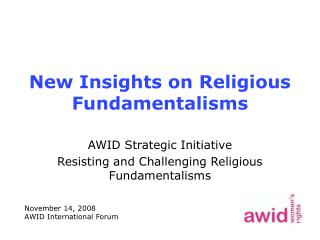 New Insights on Religious Fundamentalisms