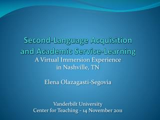 Second-Language Acquisition  and Academic Service-Learning
