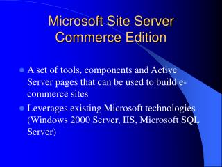 Microsoft Site Server Commerce Edition