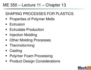 ME 350 – Lecture 11 – Chapter 13