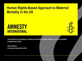 Human Rights-Based Approach to Maternal Mortality in the US