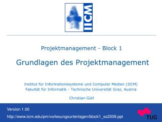 Projektmanagement - Block 1   Grundlagen des Projektmanagement