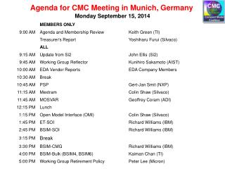 Agenda for  CMC Meeting in Munich, Germany
