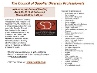 The Council of Supplier Diversity Professionals