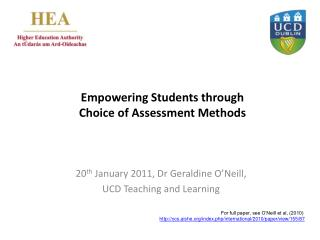 Empowering Students through  Choice of Assessment Methods