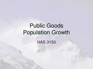 Public Goods Population Growth