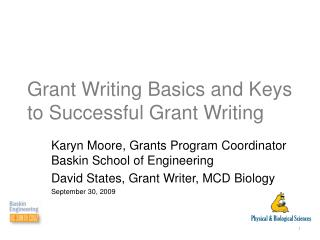 Grant Writing Basics and Keys to Successful Grant Writing