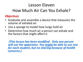 Lesson Eleven How Much Air Can You Exhale?