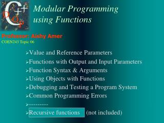 Modular Programming using Functions