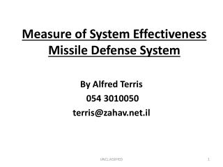 Measure of System Effectiveness Missile Defense System