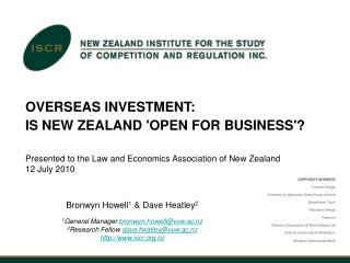 OVERSEAS INVESTMENT: IS NEW ZEALAND 'OPEN FOR BUSINESS'?