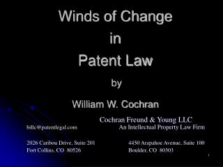Winds of Change in Patent Law