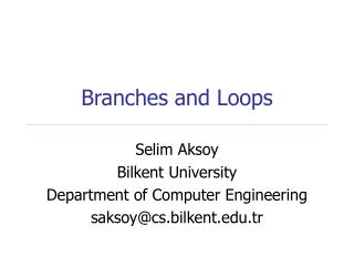 Branches and Loops