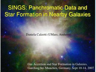 SINGS: Panchromatic Data and Star Formation in Nearby Galaxies