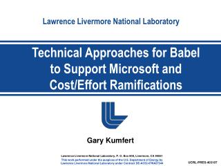 Technical Approaches for Babel to Support Microsoft and Cost/Effort Ramifications