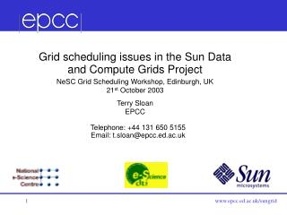 Grid scheduling issues in the  Sun Data and Compute Grids Project
