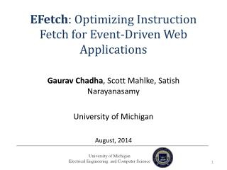 EFetch :  Optimizing Instruction Fetch for Event-Driven Web  Applications