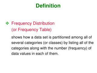 Frequency Distribution (or Frequency Table)