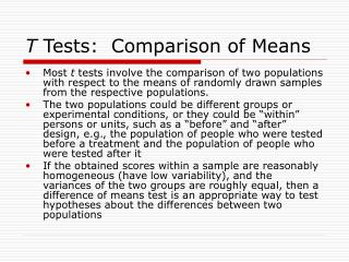 T  Tests:  Comparison of Means
