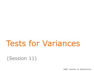 Tests for Variances