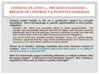 Formosa Plastics  v.  Presidio  Engineers –  Breach of Contract & Punitive Damages