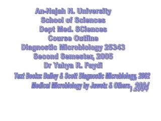 An-Najah N. University School of Sciences Dept Med. SCiences Course Outline Diagnostic Microbiology 25343 Second Semeste
