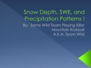 Snow Depth, SWE, and Precipitation Patterns !