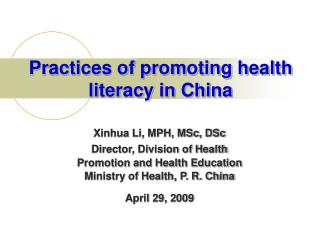 Practices of promoting health literacy in China