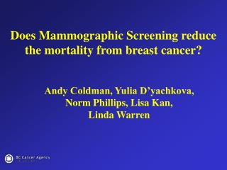 Does Mammographic Screening reduce the mortality from breast cancer?