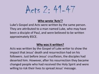 Acts 2: 41-47