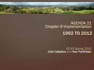 AGENDA 21   Chapter 8 Implementation