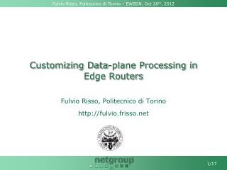 Customizing Data-plane Processing in Edge Routers