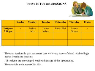 PHY114  TUTOR  SESSIONS