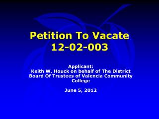 Petition To Vacate  12-02-003