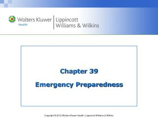 Chapter 39 Emergency Preparedness