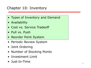 Chapter 10: Inventory