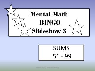 Mental Math  BINGO Slideshow  3