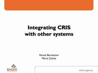 Integrating CRIS  with other systems