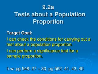 9.2a   Tests about a Population Proportion