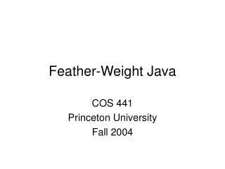 Feather-Weight Java
