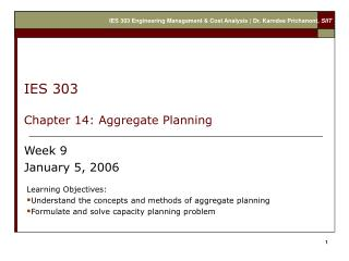 IES 303  Chapter 14: Aggregate Planning