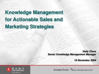Knowledge Management for Actionable Sales and Marketing Strategies