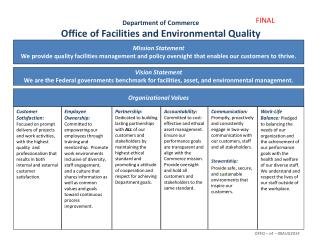 Department of Commerce Office of Facilities and Environmental Quality